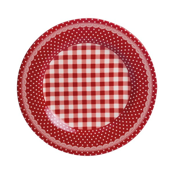 Talerz Red Dots&Checks, 25.5 cm