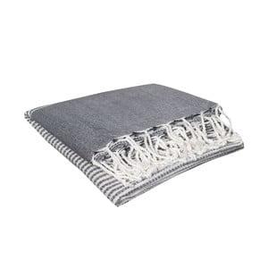Ręcznik kąpielowy hammam Hermes Black, 90x190 cm