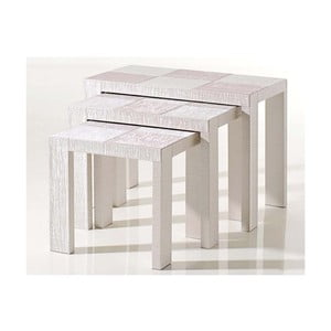 Stoliki obite skórą wegańską Table Nesting White