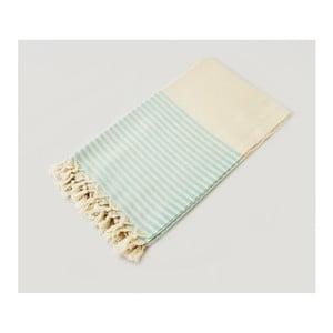 Biały ręcznik w turkusowe paski Hammam Marine Style, 100x170 cm