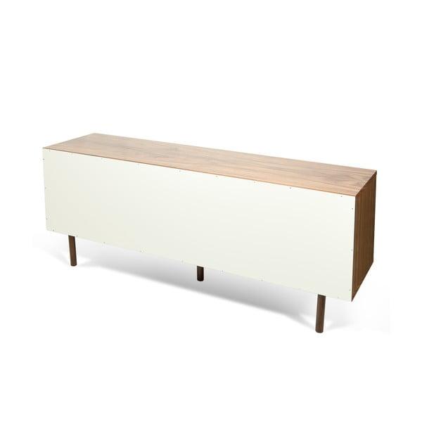 Biała komoda z drewnianymi nogami TemaHome Dann Walnut