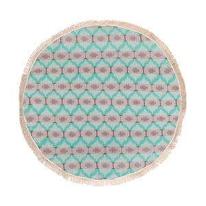 Miętowy ręcznik hammam Begonville Ripple, ᴓ 150 cm