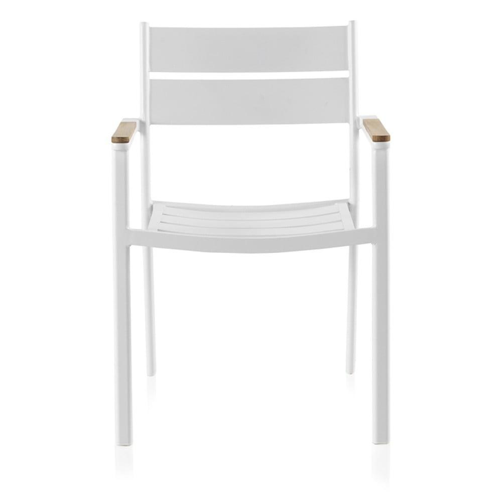 Białe krzesło ogrodowe z drewnem tekowym Geese Giulia, szer. 56 cm