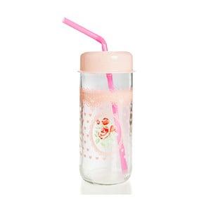 Szklanka z różową zakrętką i słomką Mezzo Jar, 360 ml