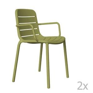 Zestaw 2 zielonych krzeseł ogrodowych z podłokietnikami Resol Gina