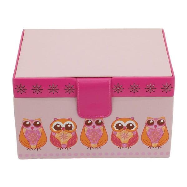 Różowa szkatułka na biżuterię Friedrich Lederwaren Owlivia