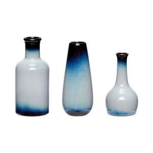 Zestaw 3 niebiesko-białych wazonów ceramicznych Hübsch Frej