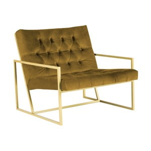Musztardowy fotel z konstrukcją w kolorze złota Mazzini Sofas Bono