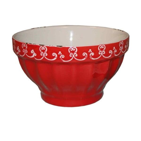 Czerwona miska z kamionki Antic Line, ⌀ 13,5 cm