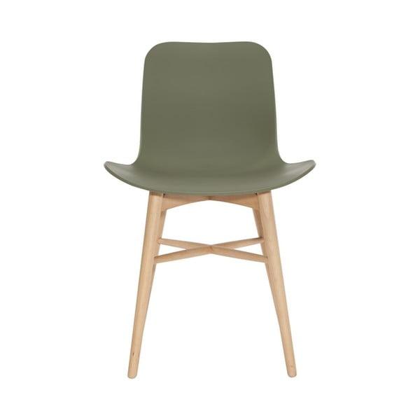Zielone krzesło do jadalni z litego drewna bukowego NORR11 Langue Natural