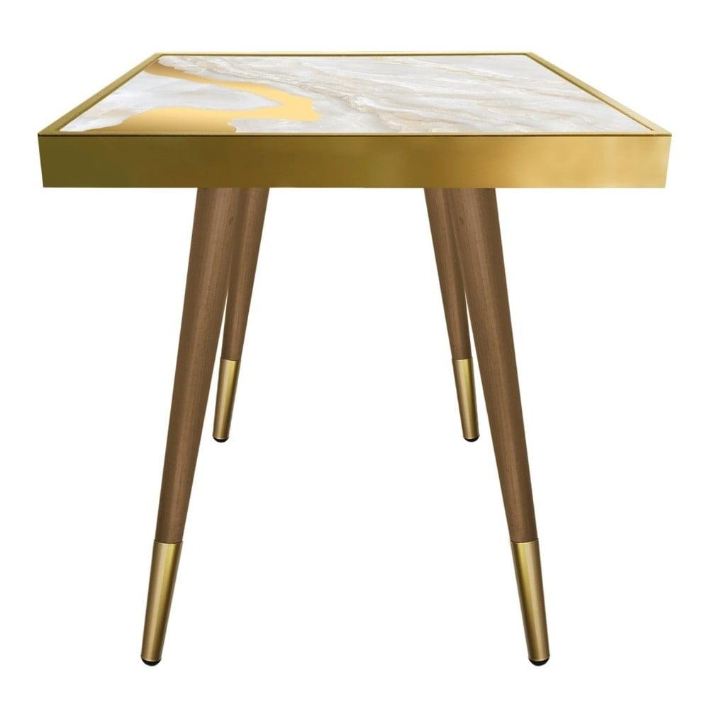 Stolik Caresso Gold Marble Square, 45x45 cm