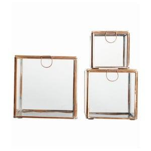 Zestaw 3 szklanych pojemników Copper