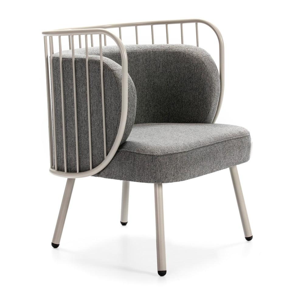 Biały metalowy fotel z szarym obiciem Teulat Nabi
