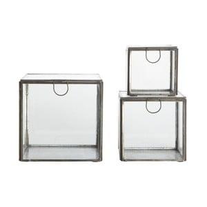 Zestaw 3 szklanych pojemników Trio Metal