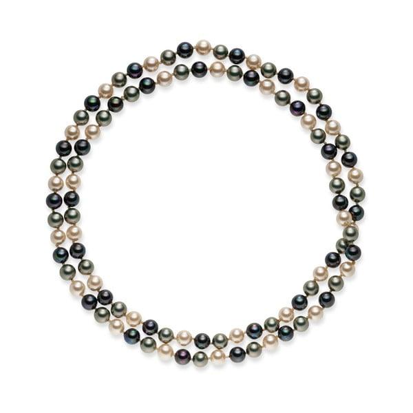 Szaro-biały   naszyjnik z pereł Pearls of London Mystic, 90 cm