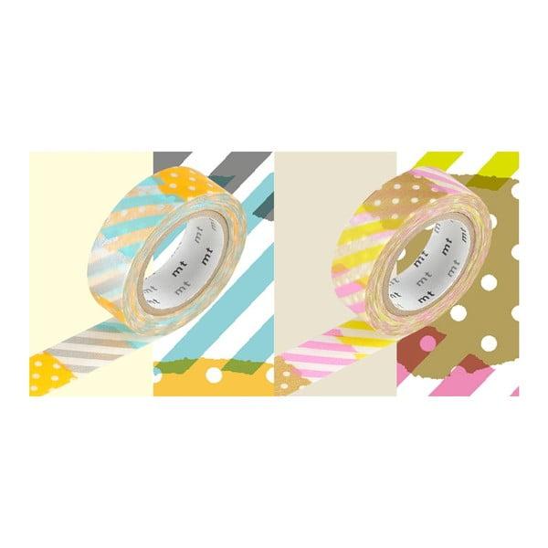 Zestaw 2 taśm dekoracyjnych washi Pois Rayures Tsugihagi Pastel