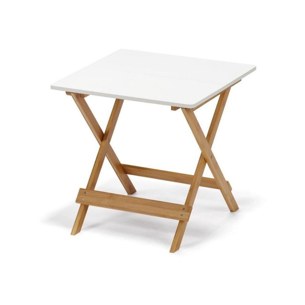 Biały składany stolik z bambusowymi nogami loomi.design Lora