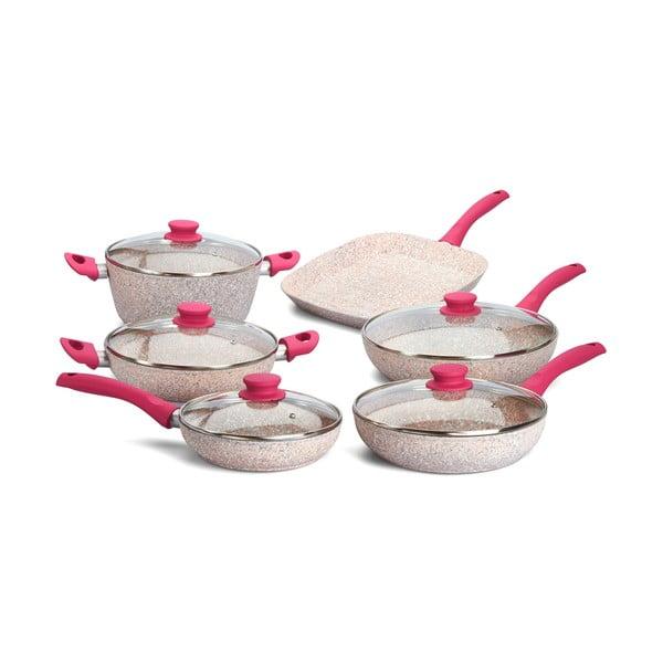 6-częściowy zestaw garnków i patelni Stonerose z rączką fuksja