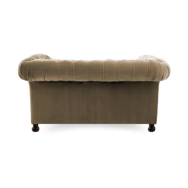 Szaro-beżowa sofa dwuosobowa Vivonita Chesterfield