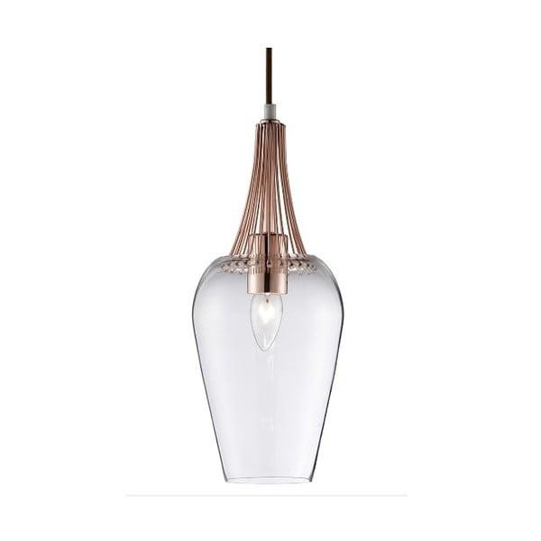 Lampa wisząca Searchlight Whisk, miedziana/przezroczysta