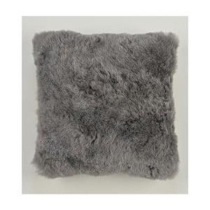Dwustronna futrzana poduszka z krótkim włosem Grey, 50x50 cm