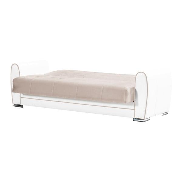 Szaro-beżowa trzyosobowa sofa rozkładana o kremowej konstrukcji ze schowkiem Esidra Rest
