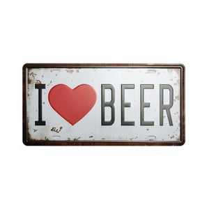 Tablica I Love Beer, 15x30 cm