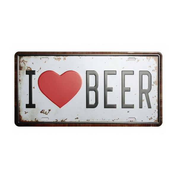 Tablica I Love Beer, 15x30 cm