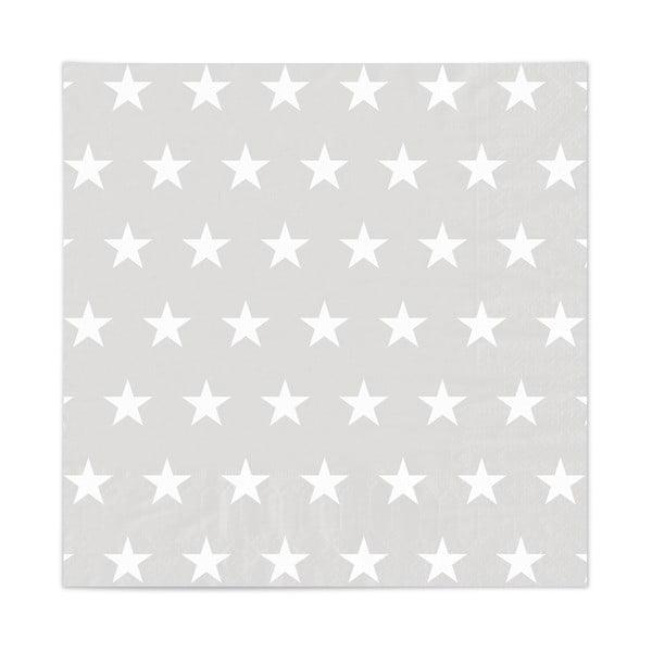 Zestaw 20 serwetek Stars Grey