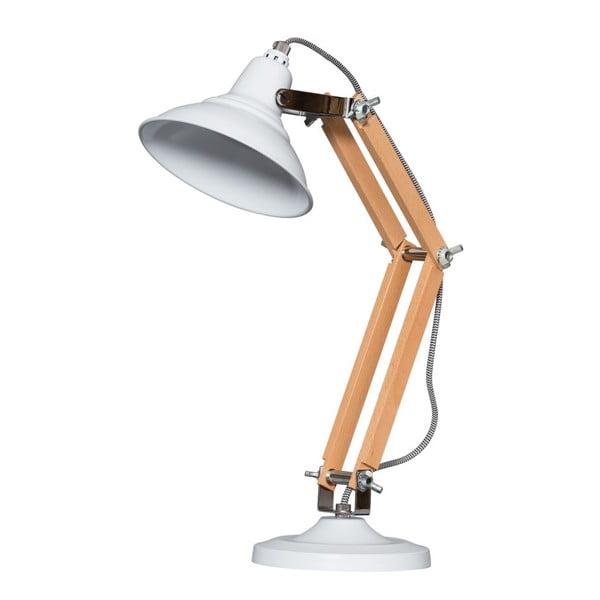Drewniana lampa stołowa z białym kloszem ETH Calia