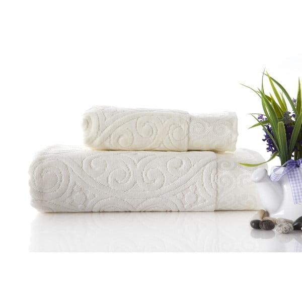 Zestaw 2 ręczników Hanzade Ecru, 70x140 i 50x90 cm