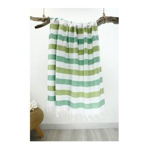 Biało-zielony ręcznik hammam Rainbow Style Green Cream, 100x180 cm