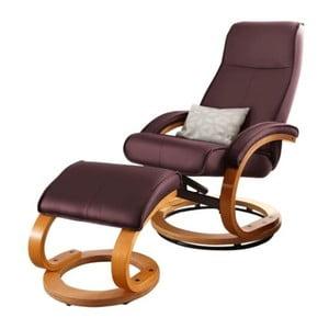 Bordowy fotel regulowany z obiciem ze skóry ekologicznej i podnóżkiem Støraa Rika