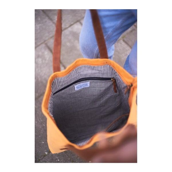Musztardowo-niebieska torba skórzana  vintage O My Bag Lou's