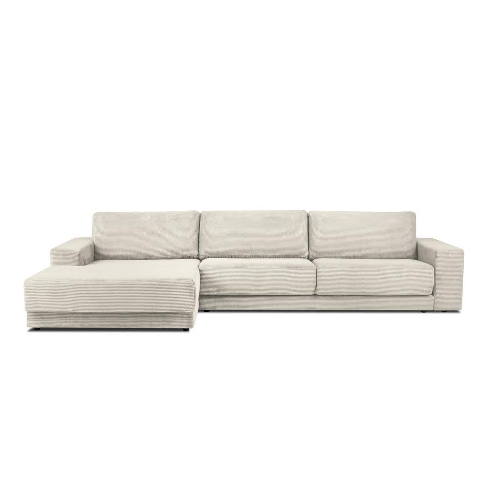 Beżowa XXL 6-osobowa sofa rozkładana Milo Casa Donatella, lewy róg