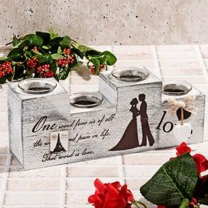 Drewniany świecznik Wedding
