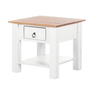Biały stolik z drewna sosnowego z naturalnym blatem Støraa Klein