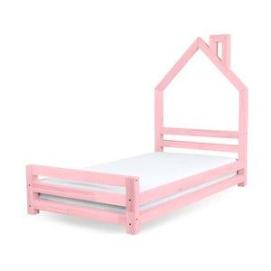 Różowe łożko dziecięce z drewna sosnowego Benlemi Wally,80x160cm