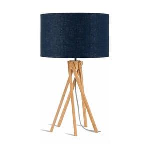 Lampa stołowa z niebieskim kloszem i konstrukcją z bambusa Good&Mojo Kilimanjaro