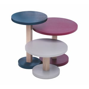 Zestaw 3 stolików z drewna dębowego Another Brand Tavollini Purple