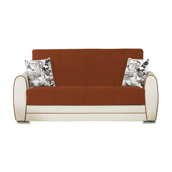 Pomarańczowo-kremowa dwuosobowa sofa rozkładana ze schowkiem Esidra Rest
