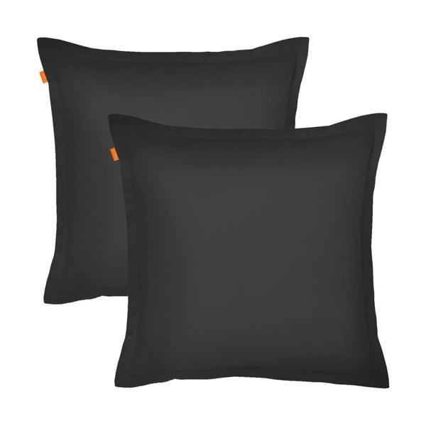 Zestaw 2 czarnych poszewek na poduszki HF Living Basic, 60x60 cm