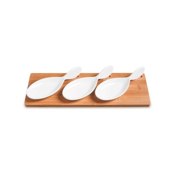 Miski do serwowania na bambusowej tacy Mythos, 33x13 cm