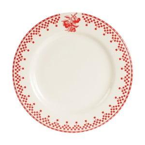 Czerwono-biały talerz deserowy Comptoir de Famille Damier, 22 cm