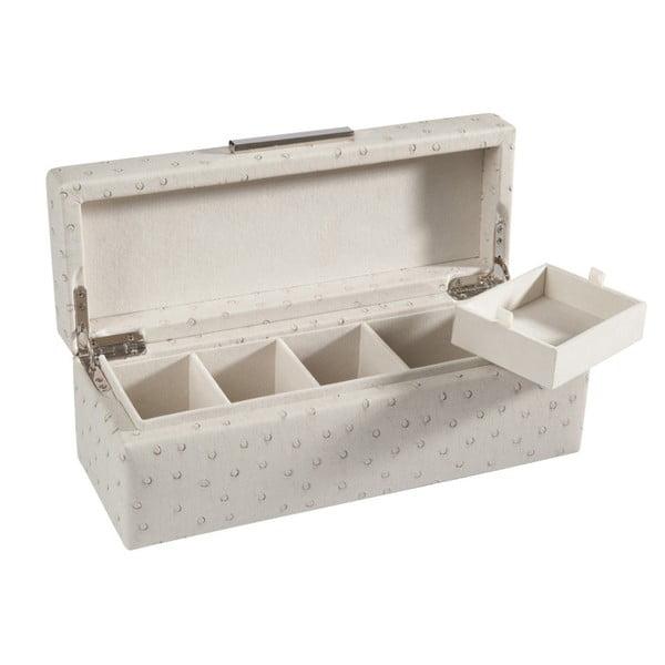 Kremowa szkatułka na biżuterię J-Line, 28x10x10 cm