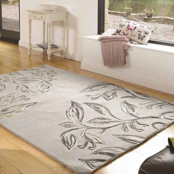 Dywan wełniany Florali, 160x230 cm, szary