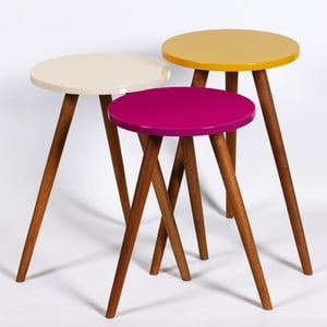 Zestaw 3 stolików Kate Louise Round (fioletowy, kremowy, żółty)