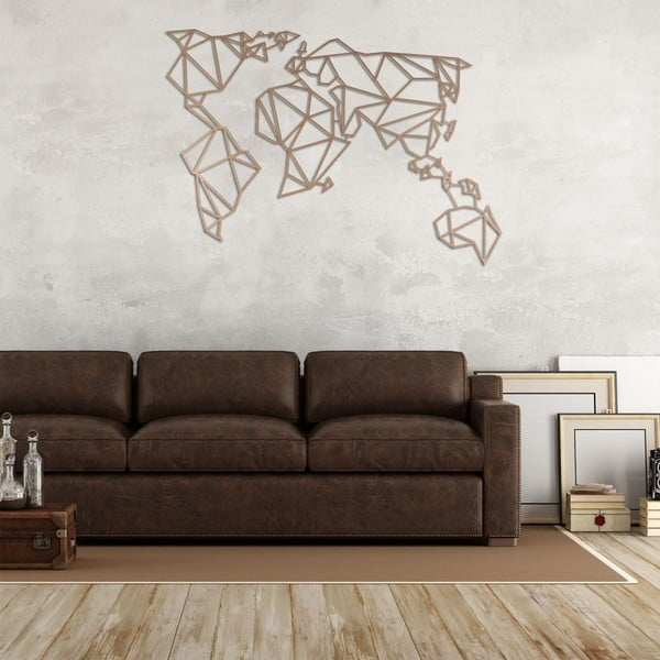 Metalowa dekoracja ścienna w miedzianym kolorze Homemania World