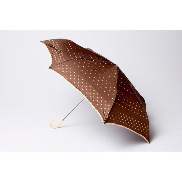 Składany parasol Dots, brązowy
