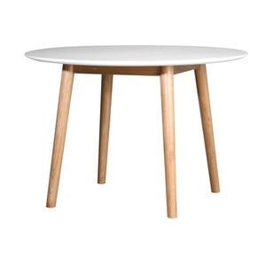 Biały stół z konstrukcją z drewna dębowego We47 Eelis, ⌀ 110 cm